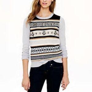 J.Crew Jeweled Fair Isle stripe sweater
